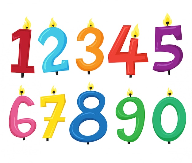 Colorful number candle vector set