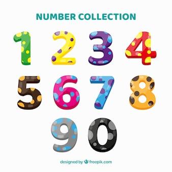 Raccolta di numeri colorati con punti