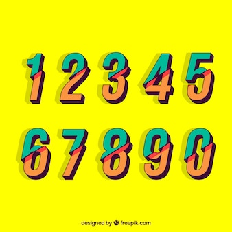 Colorful number collection with flat design