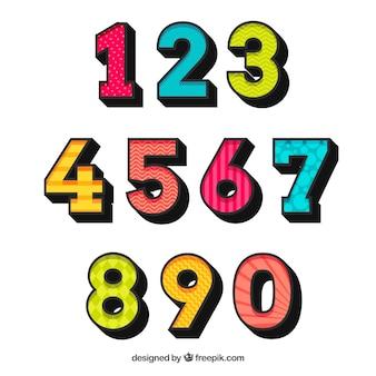 Collezione di numeri colorati con design piatto