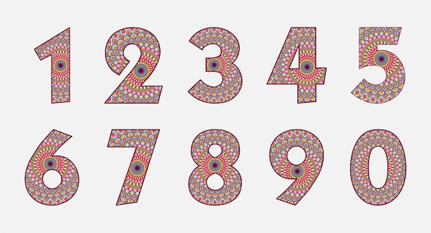 Colorful number collection with mandala design