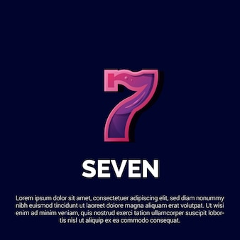 Colorful number seven logo design with modern concept style illustrations for badges, emblems and icons