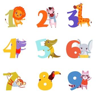 1から9までのカラフルな数字と動物。