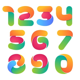 Набор красочных чисел. стиль шрифта