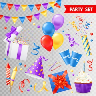 Colorful objects for parties and holidays set isolated on transparent background flat vector illustration