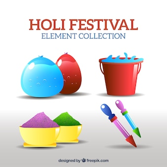 Colorful objects in realistic style for holi festival
