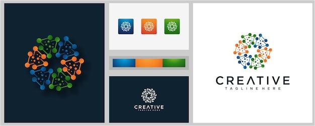 Красочные молекулы вдохновения для дизайна логотипа