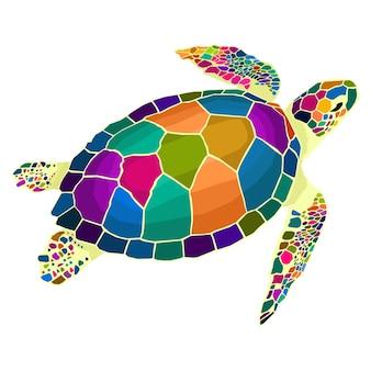 거북이 동물 팝 아트 초상화 벡터 스타일의 다채로운