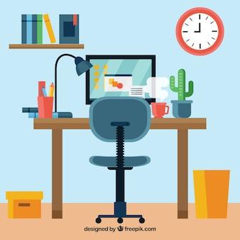 Красочный офисный стол с плоским дизайном