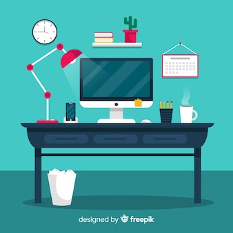 Colorful office desk with flat design