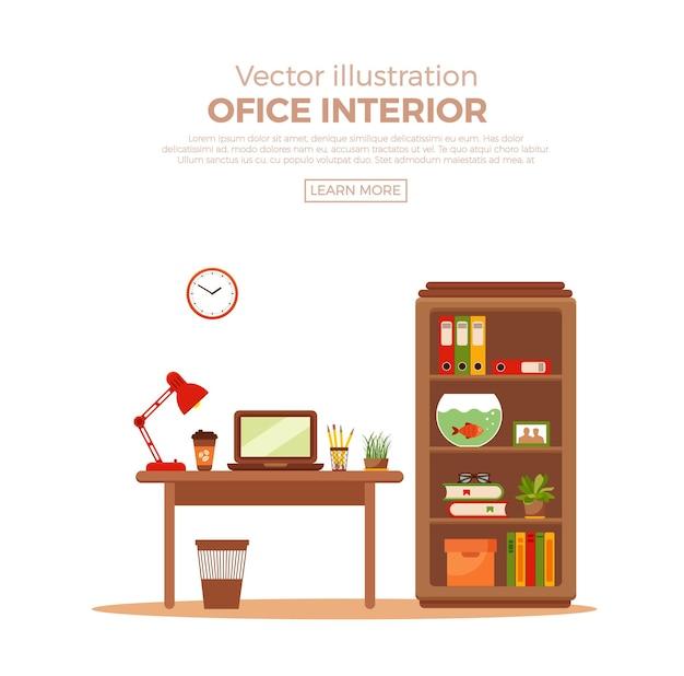 屋内植物とカラフルなオフィスデスク。作業インテリアデザイン要素