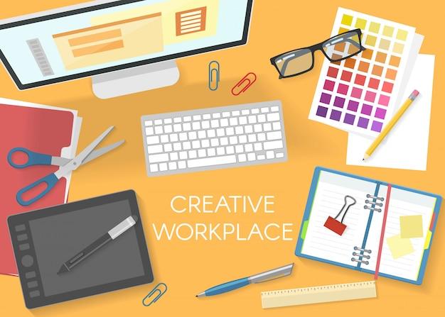 Красочный офис на рабочем месте вид сверху шаблон