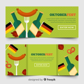 Colorful oktoberfest banners with flat design