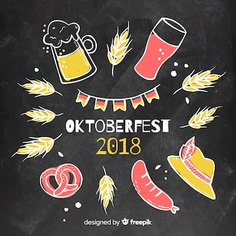 Colorful oktoberfest composition with blackboard style