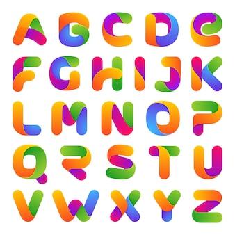 カラフルな一行文字セット。白に。フォントスタイル、アルファベット
