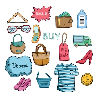 Colorful online shopping sale icons with colored hand drawn style