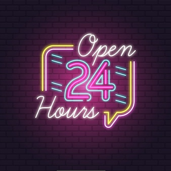 Colorful open 24 hours neon sign