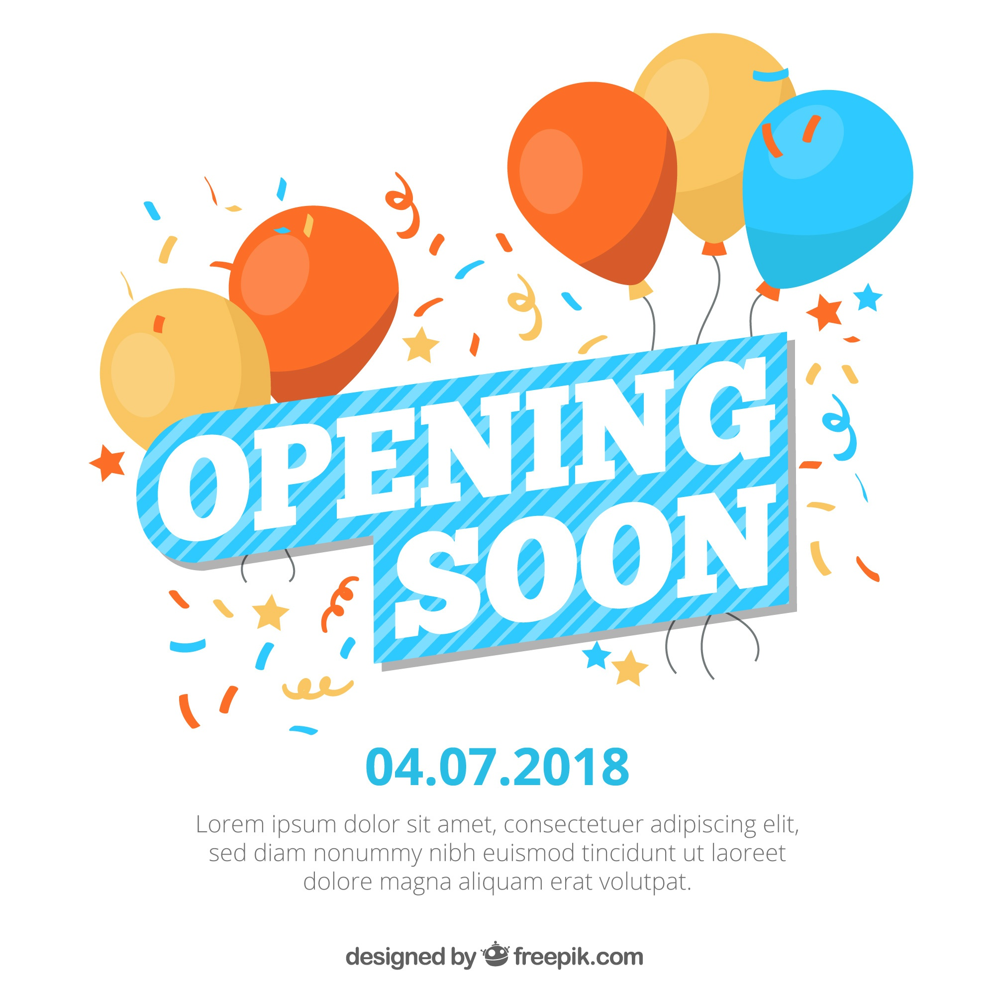 Colorful opening soon composition with flat design