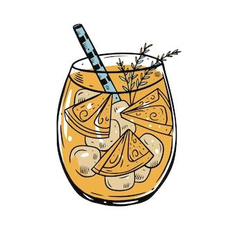 キューブアイスとローズマリーのカラフルなオレンジカクテル。手描きスケッチ