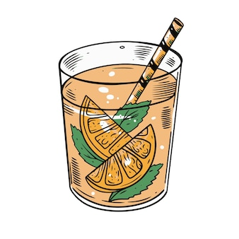 Красочный оранжевый коктейль с трубкой и мятой. эскиз чертежа руки. дизайн плаката, меню и баннера бара.