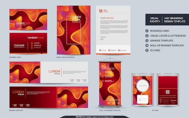 カラフルなオレンジの静止したビジュアルブランドアイデンティティセット。