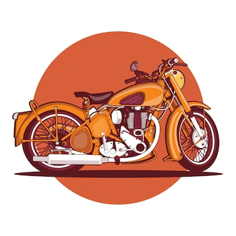 Colorful orange vintage motorcycle background