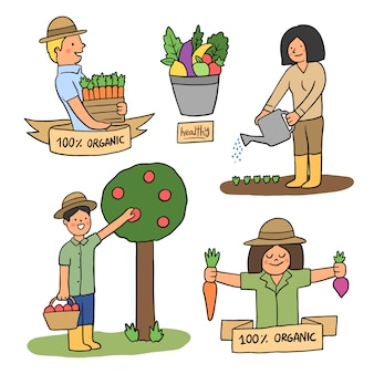 Colorful organic farming concept for illustration