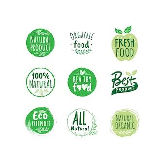 カラフルな有機食品のロゴバッジコレクション