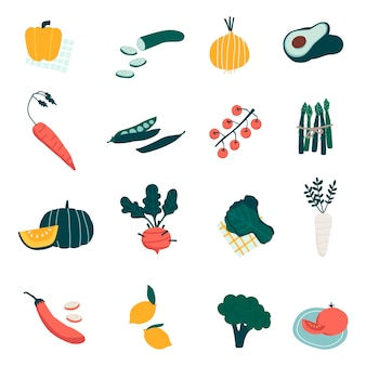 Colorful organic vegetable set vectors