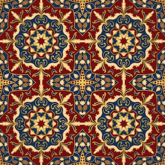 Colorful oriental ornament seamless pattern of mandalas.