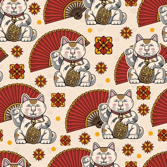 Colorful oriental seamless pattern with lucky cats folding fans flowers on traditional japanese waves light background
