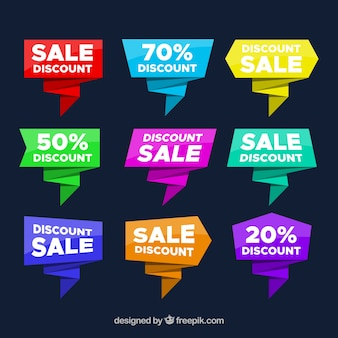 Colorful origami discount sticker pack of nine