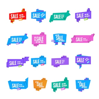 Colorful  origami paper speech bubbles collection. set of flat ribbon banner paper
