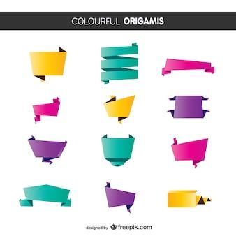 다채로운 종이 접기 리본 팩