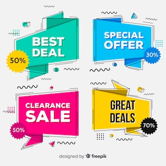 Colorful origami sale banner set