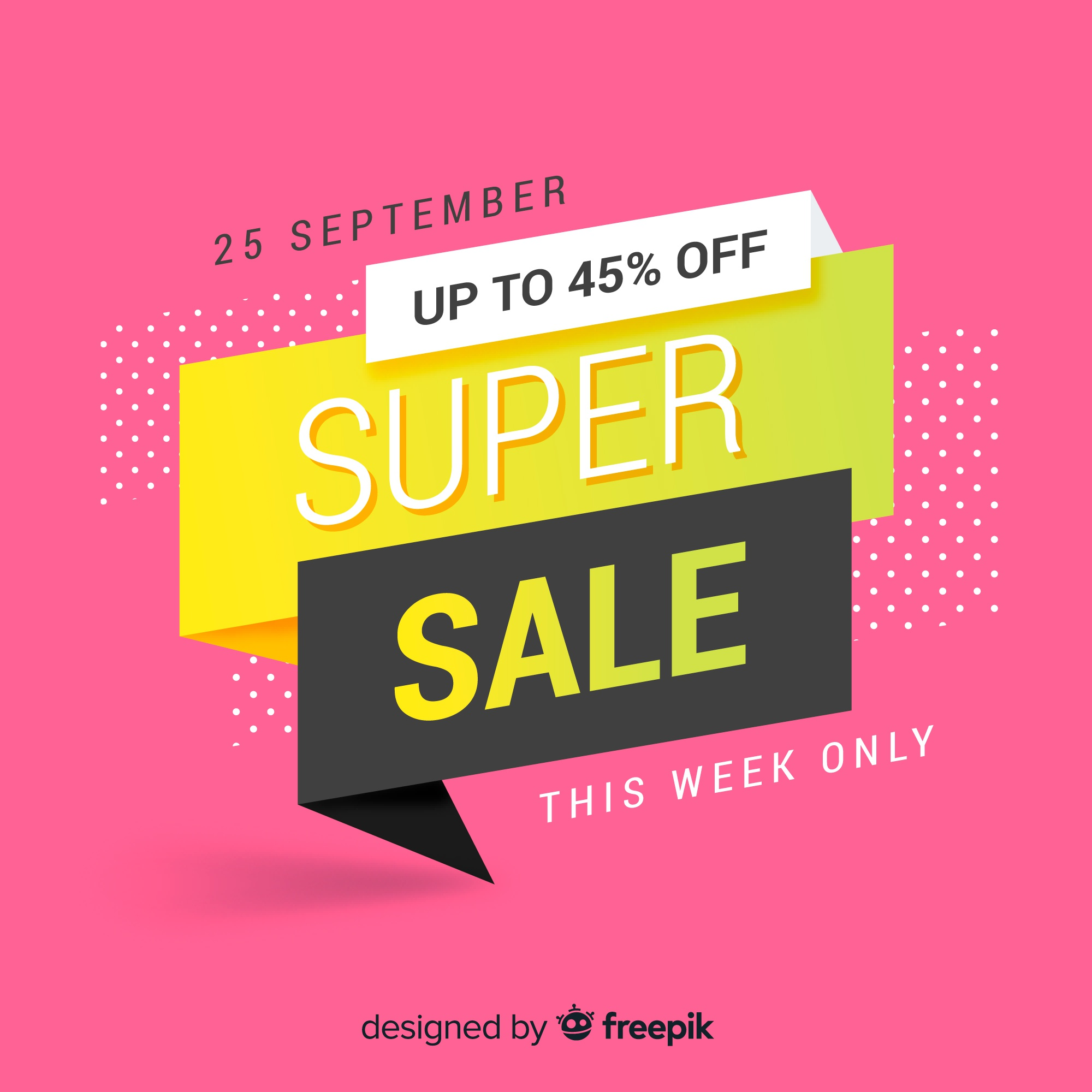 Colorful origami sale banner