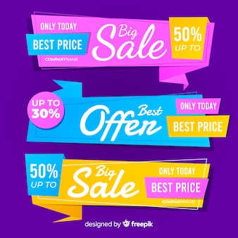 Colorful origami sales banner