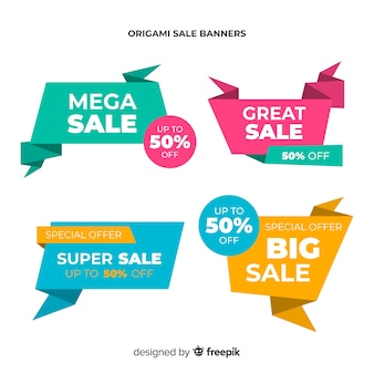 Colorful origami style sale banner set