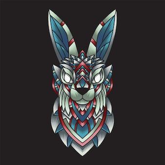 Colorful ornament doodle rabbit illustration