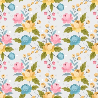 Colorful ornament flowers design seamless pattern