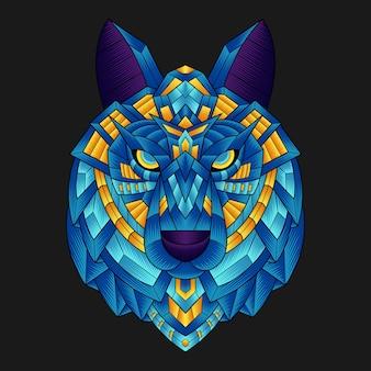 Красочный орнамент волк иллюстрация