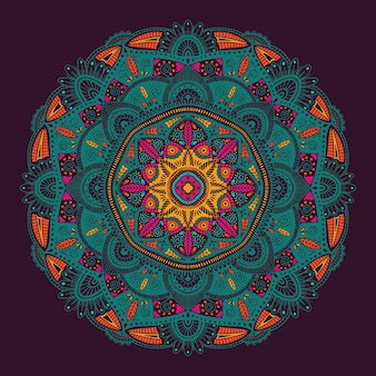 Colorful ornamental floral ethnic mandala