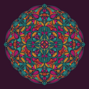 Colorful ornamental floral ethnic mandala