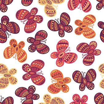 Colorful ornate butterflies on the white background. beautiful seamless butterfly pattern.