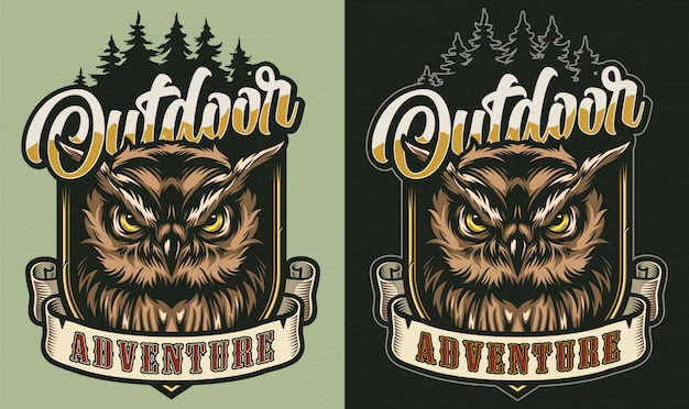 Colorful outdoor adventure vintage label