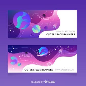 Colorful outer space banner