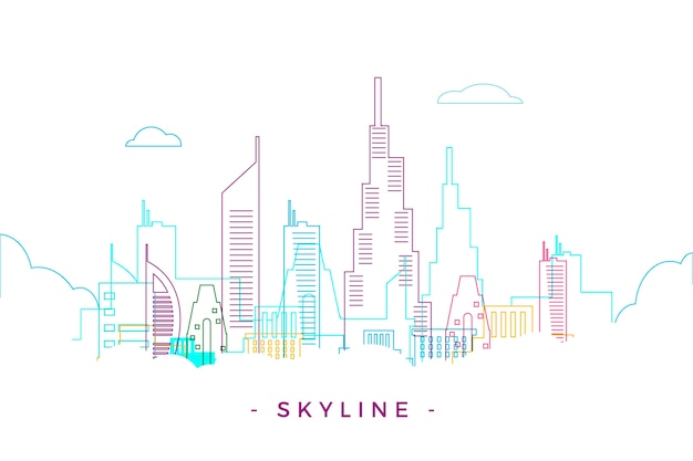 Colorful outline landmarks skyline