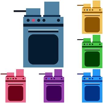 カラフルなオーブンとストーブ炒め野菜アイコンのゲームの資産
