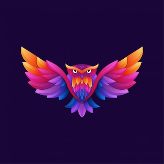 Colorful owl gradient artwork logo template