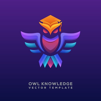 Colorful owl knowledge logo or logotype